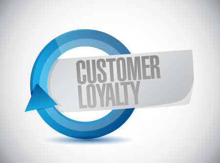 keywords bubble: customer loyalty blue cycle sign concept illustration design over white
