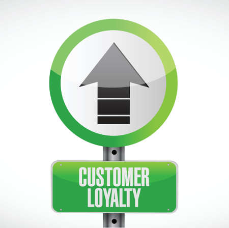 keywords bubble: customer loyalty up graph sign concept illustration design over white
