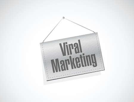 hanging banner: viral marketing hanging banner sign concept illustration design over white
