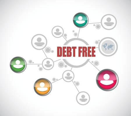 debt free people network sign concept illustration design over white