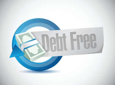 way bill: debt free money cycle bar sign concept illustration design over blue