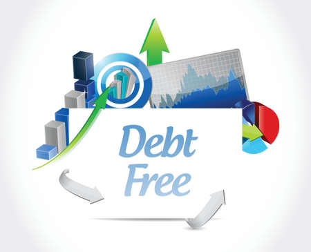 debt free business board sign concept illustration design over white