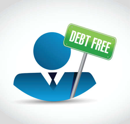 debt free avatar sign concept illustration design over white