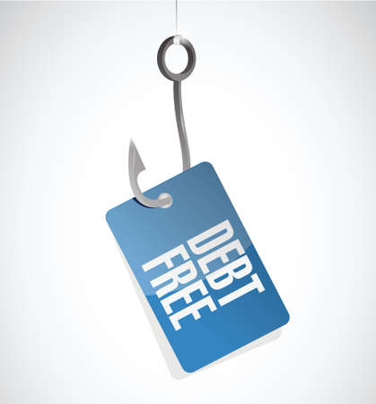 hooks: debt free hook tag sign concept illustration design over white Illustration