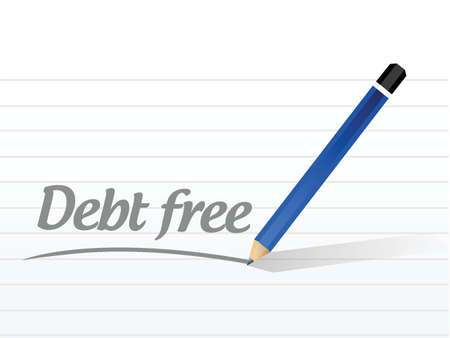 debt free message sign concept illustration design over white Illusztráció