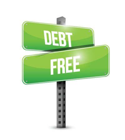 debt free street sign concept illustration design over white Vectores
