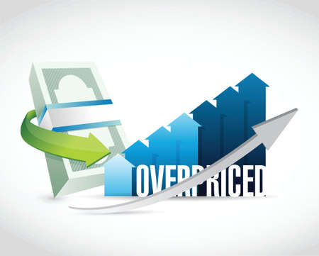 borrowing money: overpriced business money graph sign concept illustration design over white