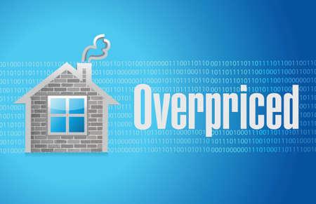 borrowing money: overpriced house market sign concept illustration design over blue