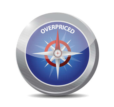 high priced: overpriced compass sign concept illustration design over white