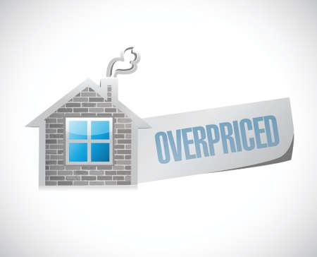 priced: overpriced house market sign concept illustration design over white