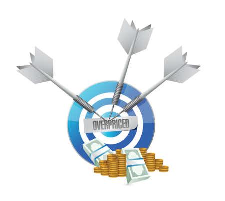 borrowing money: overpriced target sign concept illustration design over white