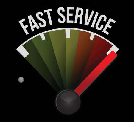 faster: fast service speedometer sign concept illustration design over white