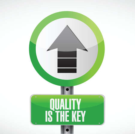 quality is the key arrow road sign concept illustration design over white Vector
