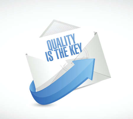 commitment committed: quality is the key mail sign concept illustration design over white