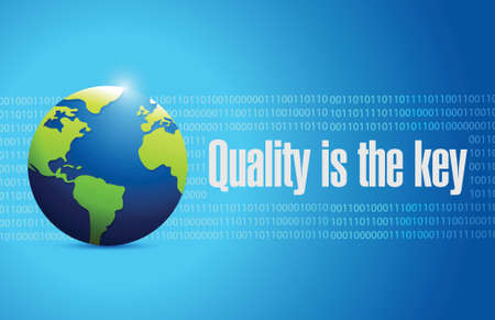 commitment committed: quality is the key international sign concept illustration design over blue