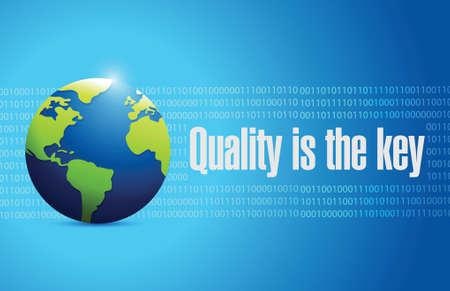 quality is the key international sign concept illustration design over blue