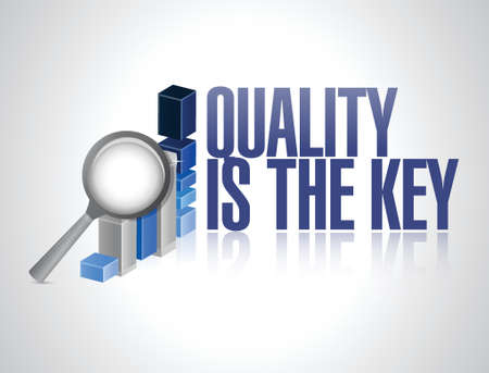 commitment committed: quality is the key business graph sign concept illustration design over white Illustration