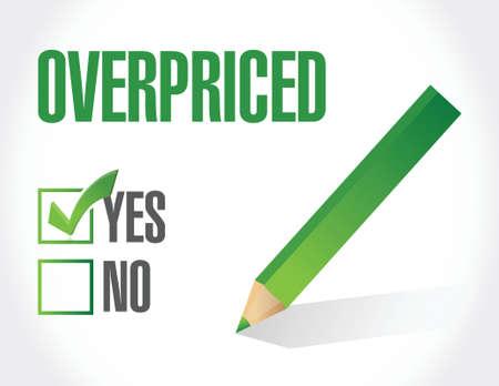 high priced: overpriced sign concept illustration design over white Illustration