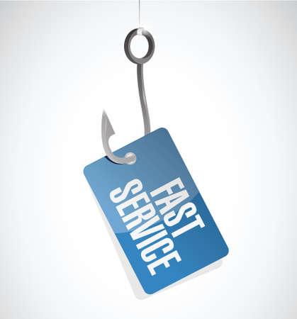 competent: fast service hook tag sign concept illustration design over white
