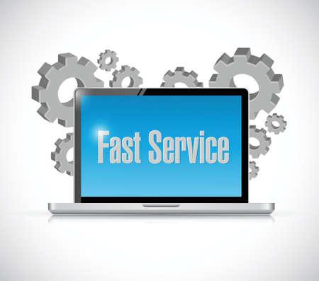 competent: fast service tech computer sign concept illustration design over white Illustration