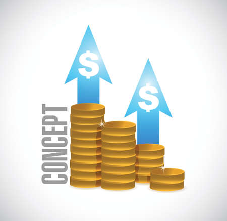 upward graph: concept coin graph sign concept illustration design over white Illustration