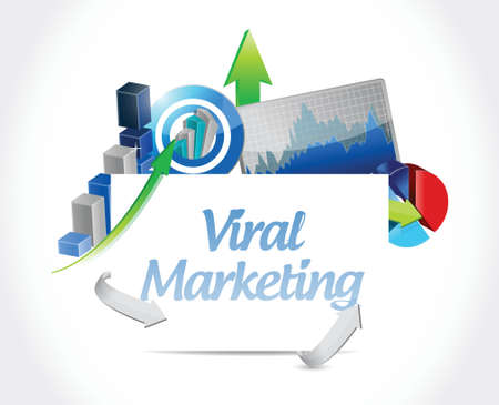 viral marketing business graph sign concept illustration design over white Illusztráció