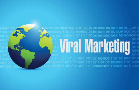 viral marketing international sign concept illustration design over blue Illusztráció