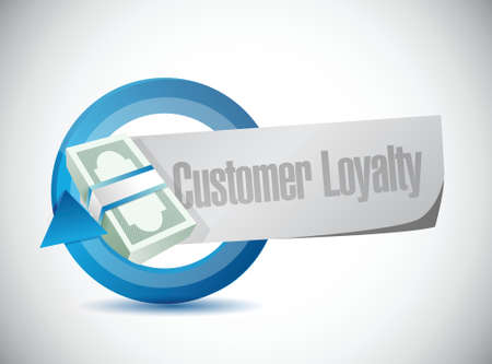 keywords bubble: customer loyalty money cycle sign concept illustration design over white
