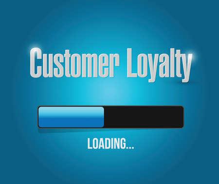 keywords bubble: customer loyalty loading bar sign concept illustration design over blue