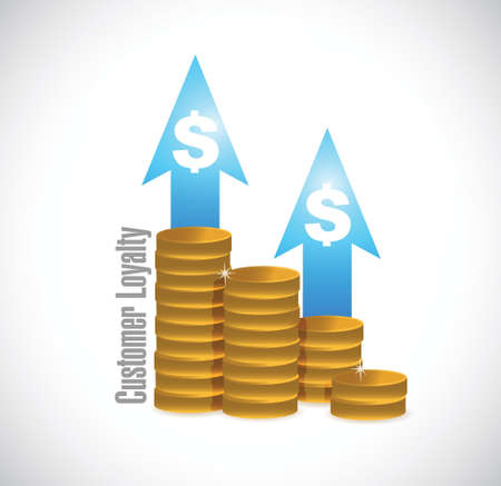 keywords bubble: customer loyalty coin graph sign concept illustration design over white Illustration