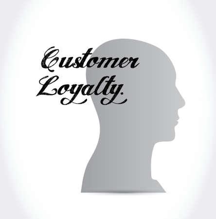 keywords bubble: customer loyalty mind sign concept illustration design over white