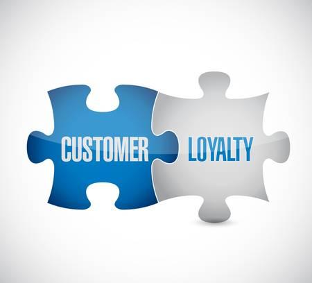 顧客の忠誠心のパズルのピースは白でコンセプト イラスト デザインを署名します。