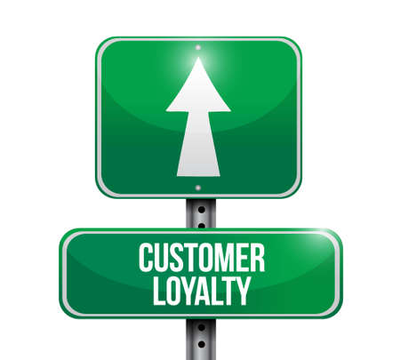 keywords bubble: customer loyalty road sign concept illustration design over white