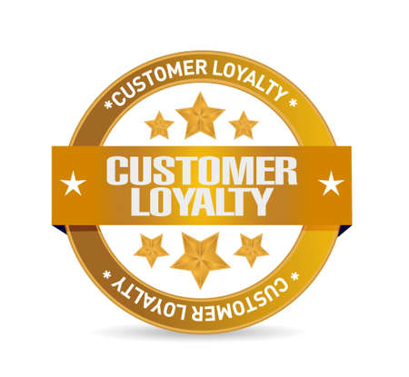 satisfied customer: customer loyalty seal sign concept illustration design over white