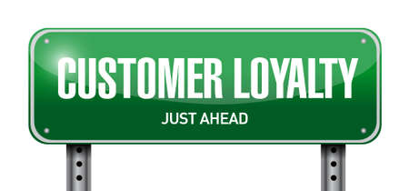 customer loyalty post sign concept illustration design over white
