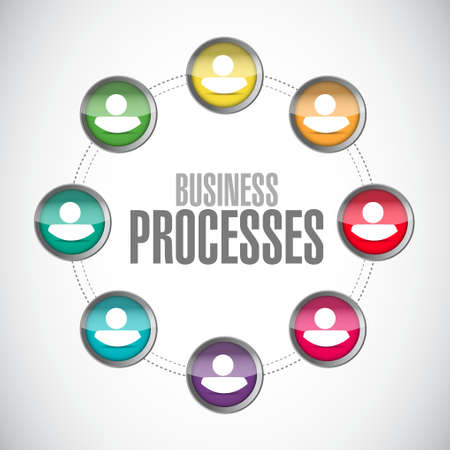 connection block: business processes contacts sign concept illustration design over white Illustration