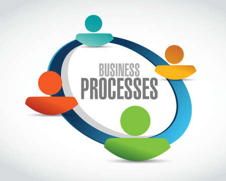 business processes team network sign concept illustration design over white Иллюстрация