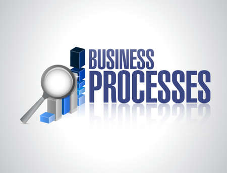 implement: business processes graph review sign concept illustration design over white Illustration