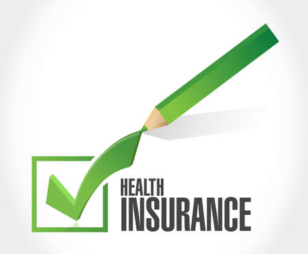 check mark sign: Health Insurance check mark sign concept illustration design graphic