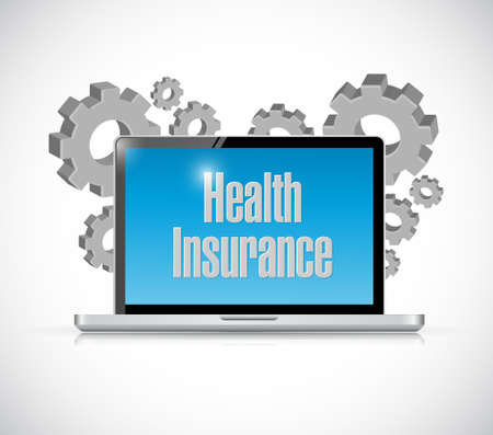 computer health: Health Insurance laptop computer sign concept illustration design graphic