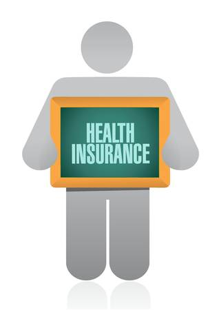 insurance claim: Health Insurance post board sign concept illustration design graphic Illustration