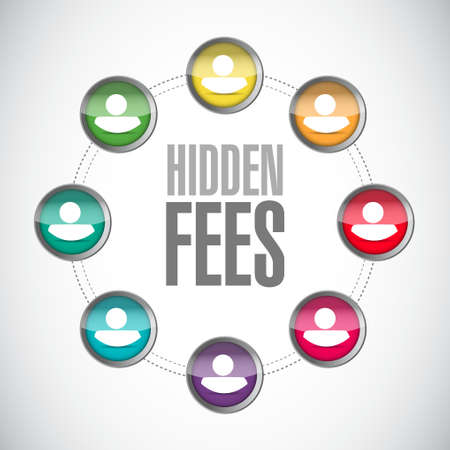 break in: hidden fees people community sign concept illustration design graphic Illustration