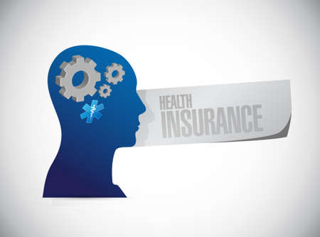 head injury: Health Insurance thinking sign concept illustration design graphic