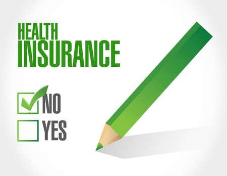 check sign: no Health Insurance check sign concept illustration design graphic
