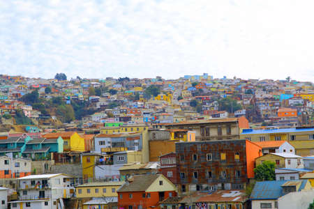 pablo neruda: Colorful buildings on the hills of the  city of Valparaiso, Chile