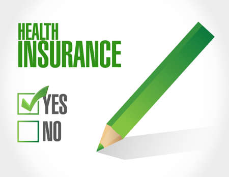 health check: Health Insurance check of approval sign concept illustration design graphic Stock Photo