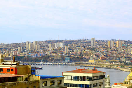 valparaiso: VALPARAISO, CHILE- june 10: The busy cargo seaport. Valparaiso, Chile. It is the most important seaport in Chile.