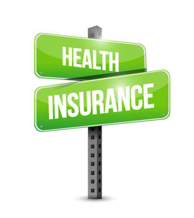 insurance claim: Health Insurance road sign concept illustration design graphic Stock Photo