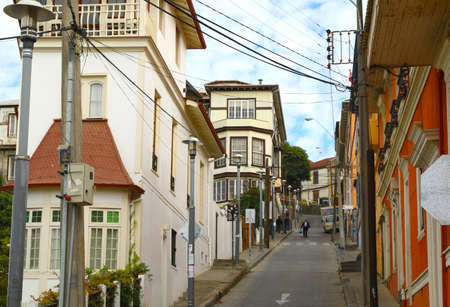 valparaiso: Colorful houses in Valparaiso, Chile. hill top homes