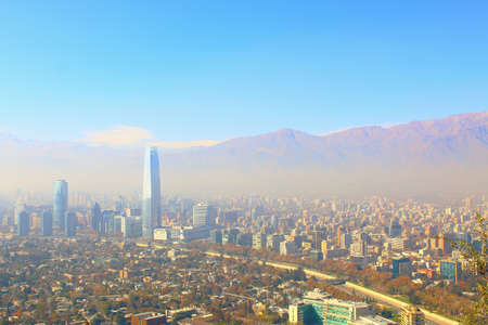 viewpoints: Santiago, chile. View from Cerro San Cristobal. In the background, the Andes mountains.